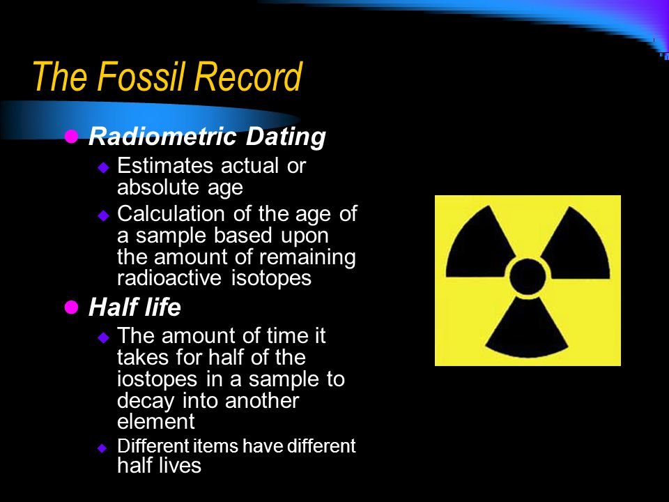 The Fossil Record Radiometric Dating Half life