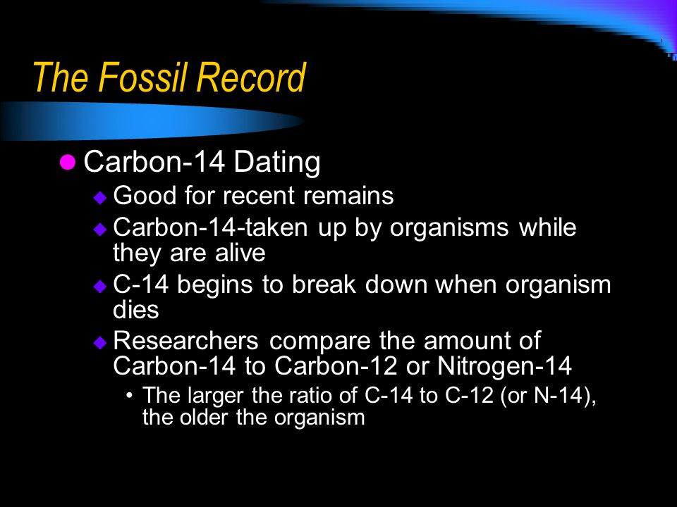 The Fossil Record Carbon-14 Dating Good for recent remains