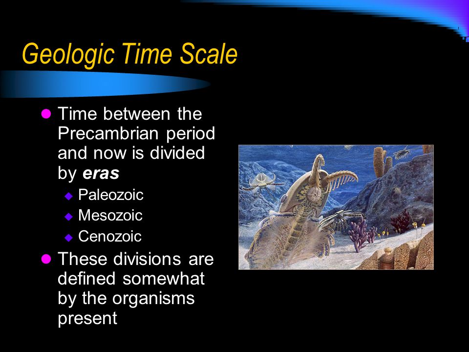 Geologic Time Scale Time between the Precambrian period and now is divided by eras. Paleozoic. Mesozoic.
