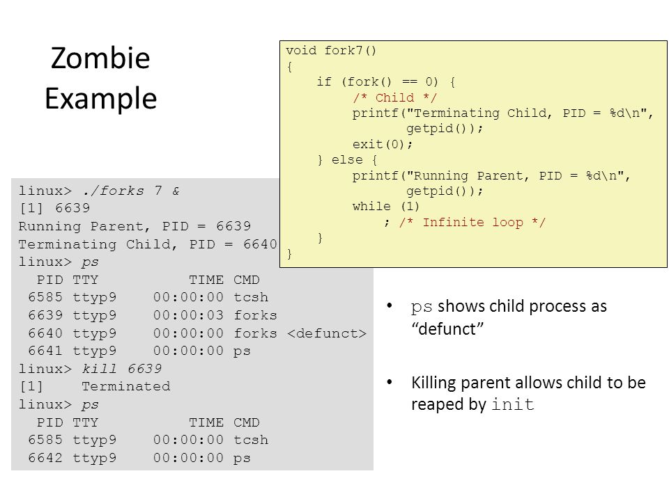 Zombie Example ps shows child process as defunct