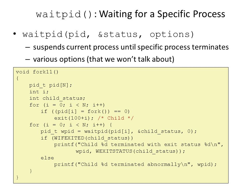 waitpid(): Waiting for a Specific Process