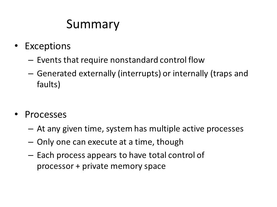 Summary Exceptions Processes