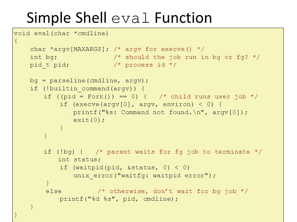 Simple Shell eval Function