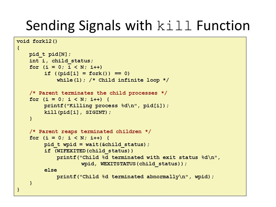 Sending Signals with kill Function