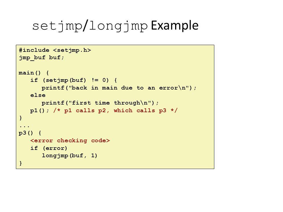 setjmp/longjmp Example