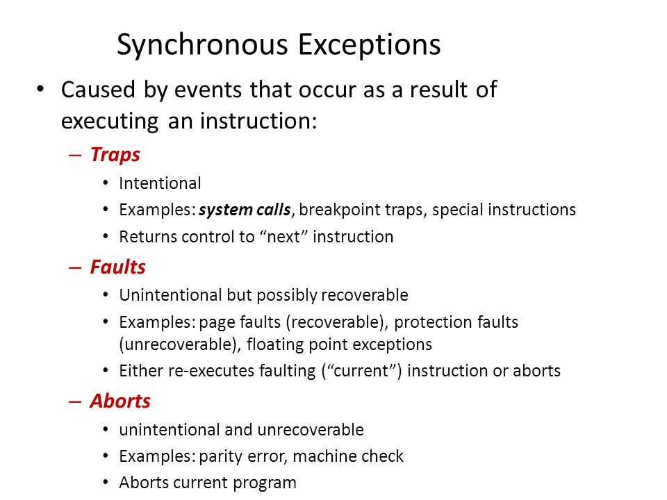 Synchronous Exceptions
