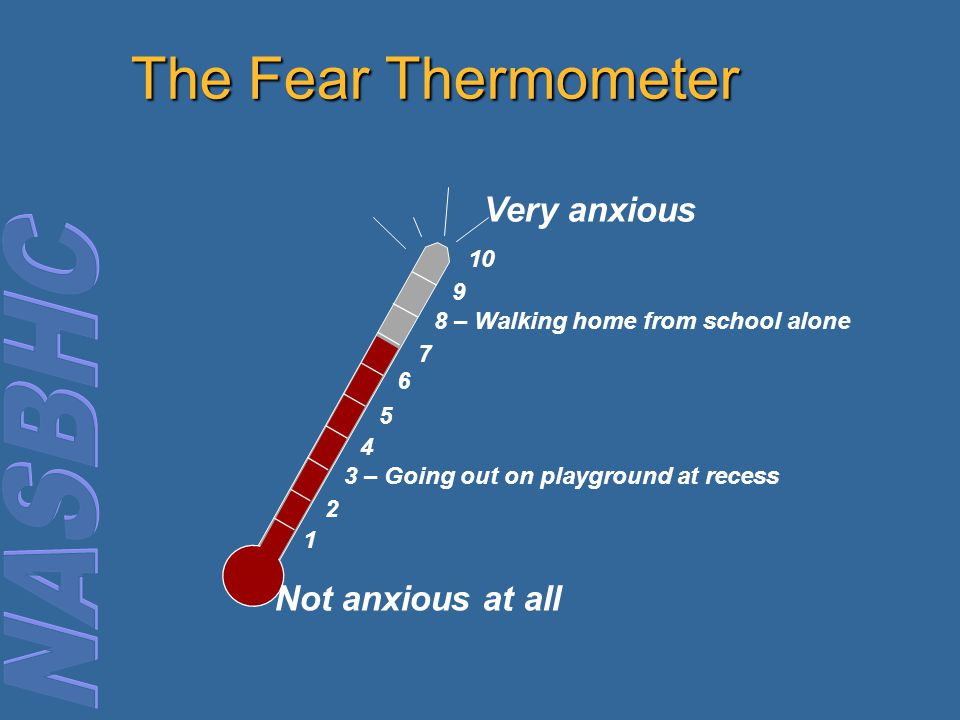 The Fear Thermometer Very anxious Not anxious at all 10 9