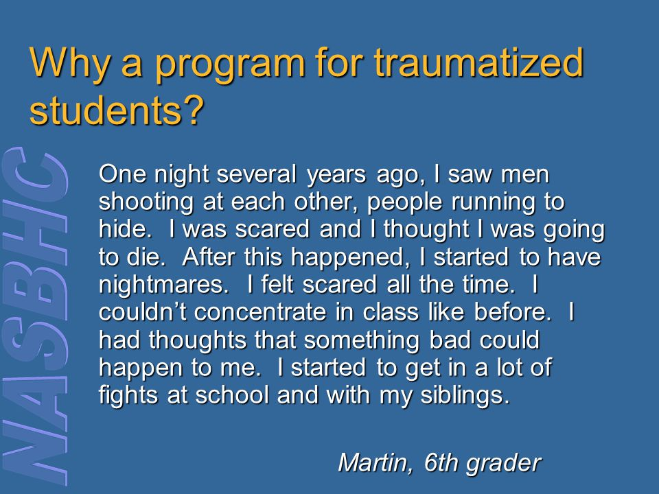 Why a program for traumatized students