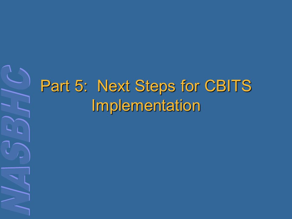 Part 5: Next Steps for CBITS Implementation
