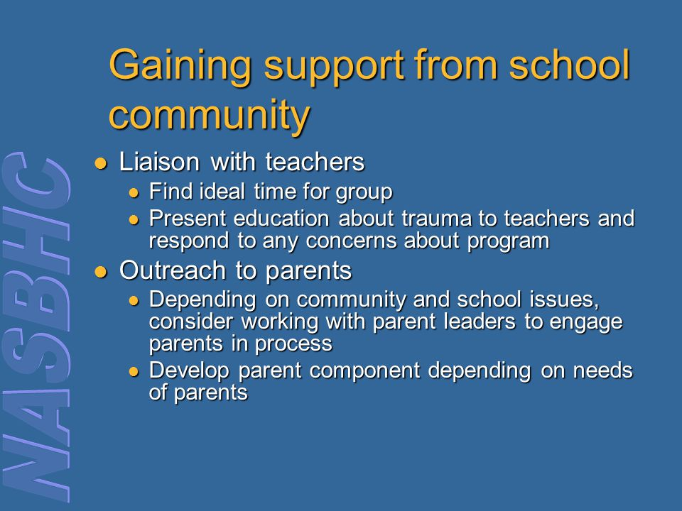 Gaining support from school community