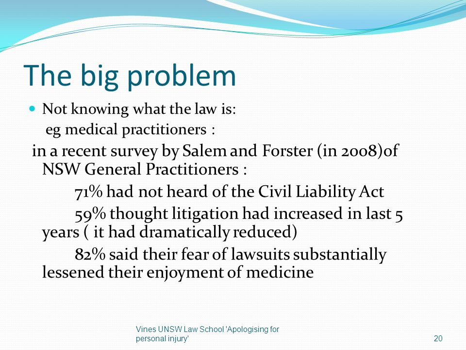The big problem 71% had not heard of the Civil Liability Act