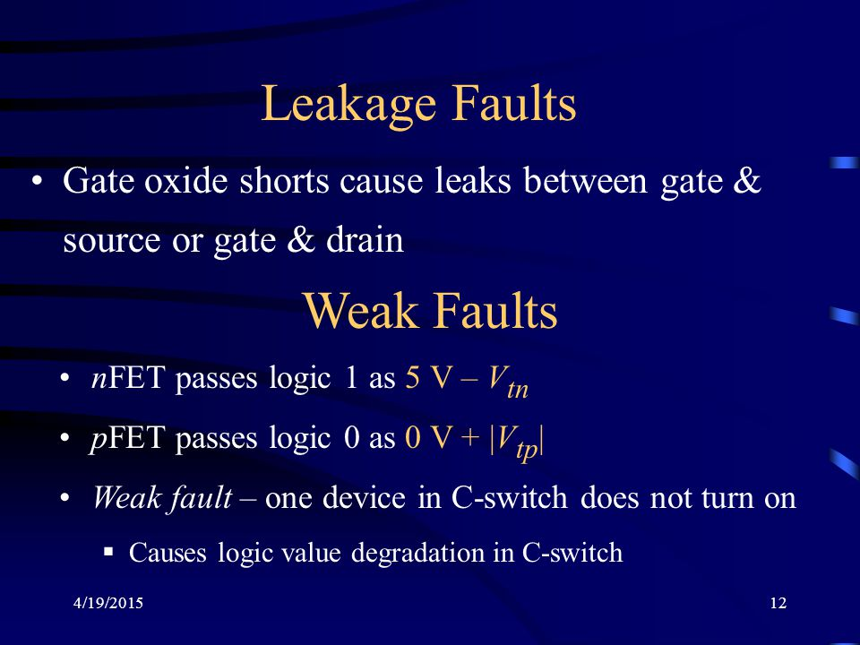 Leakage Faults Weak Faults