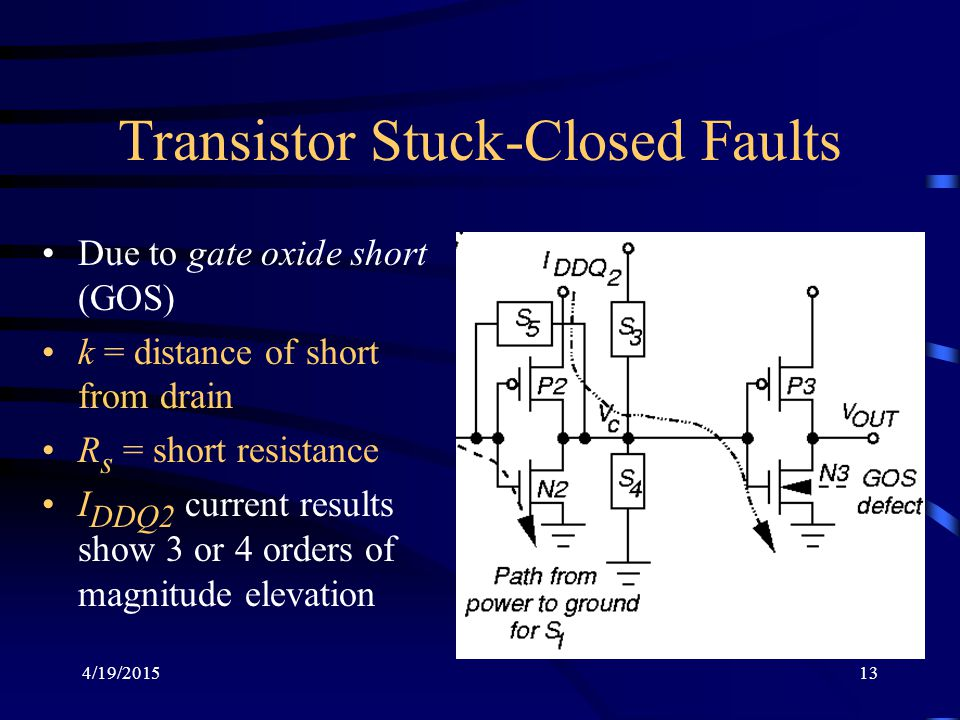 Transistor Stuck-Closed Faults