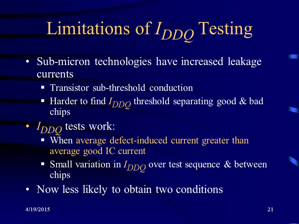 Limitations of IDDQ Testing