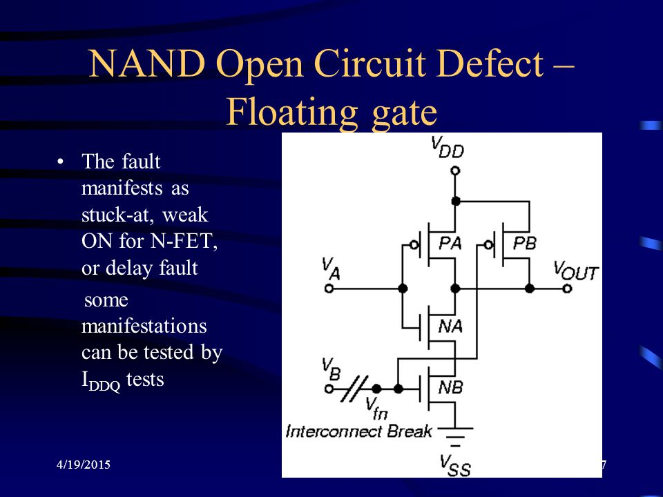 NAND Open Circuit Defect – Floating gate