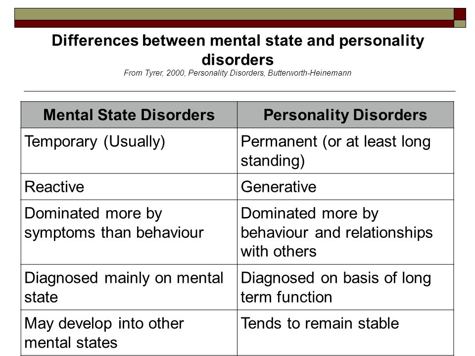 Differences between mental state and personality disorders