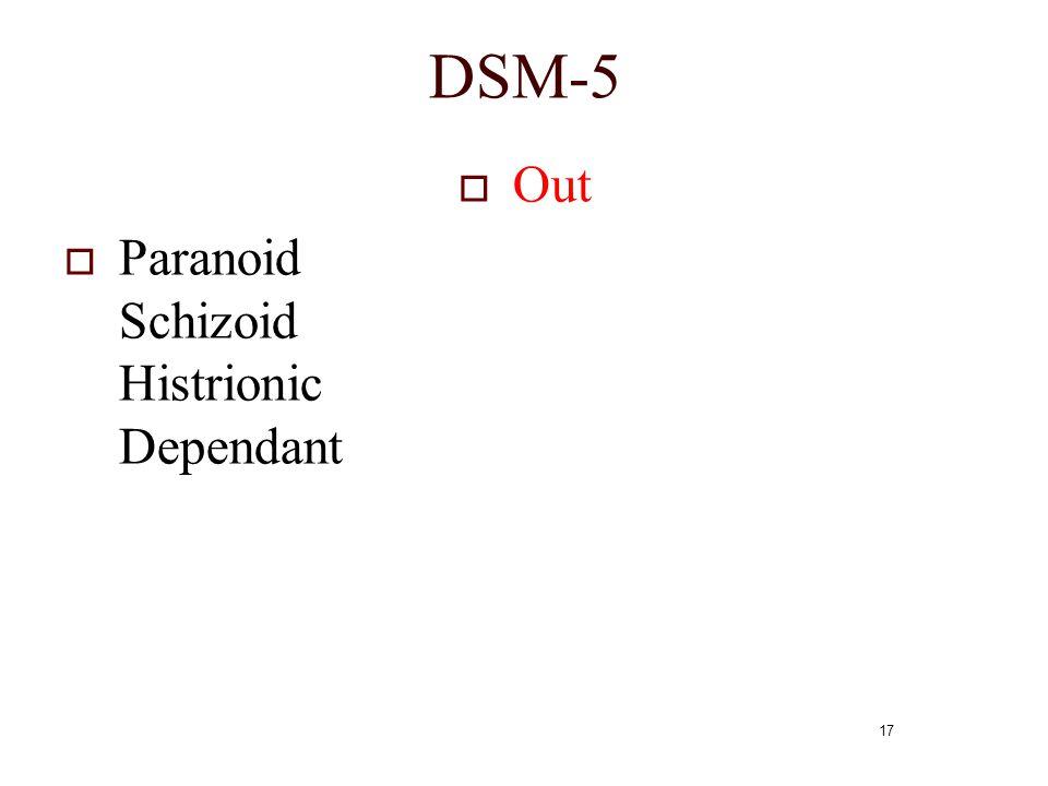 DSM-5 Out Paranoid Schizoid Histrionic Dependant