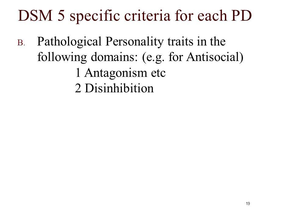 DSM 5 specific criteria for each PD