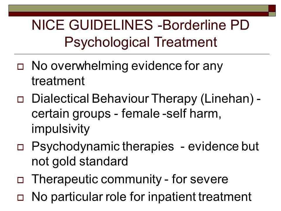 NICE GUIDELINES -Borderline PD Psychological Treatment