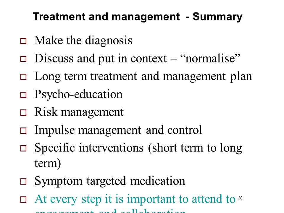 Treatment and management - Summary