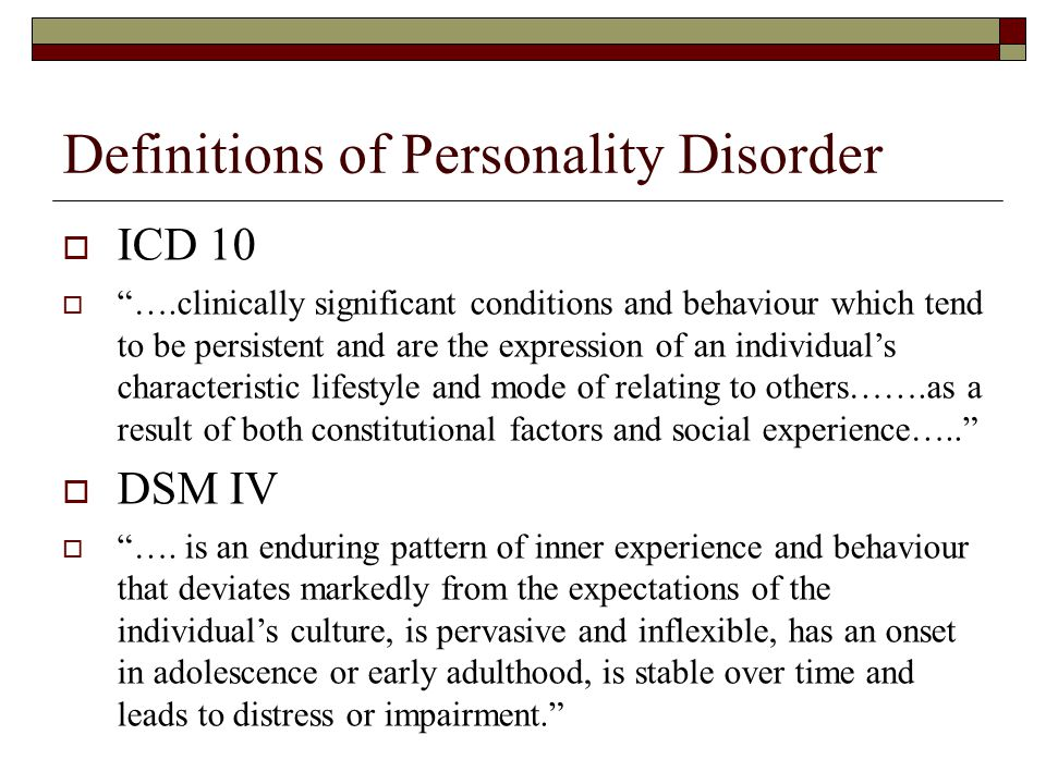 Definitions of Personality Disorder