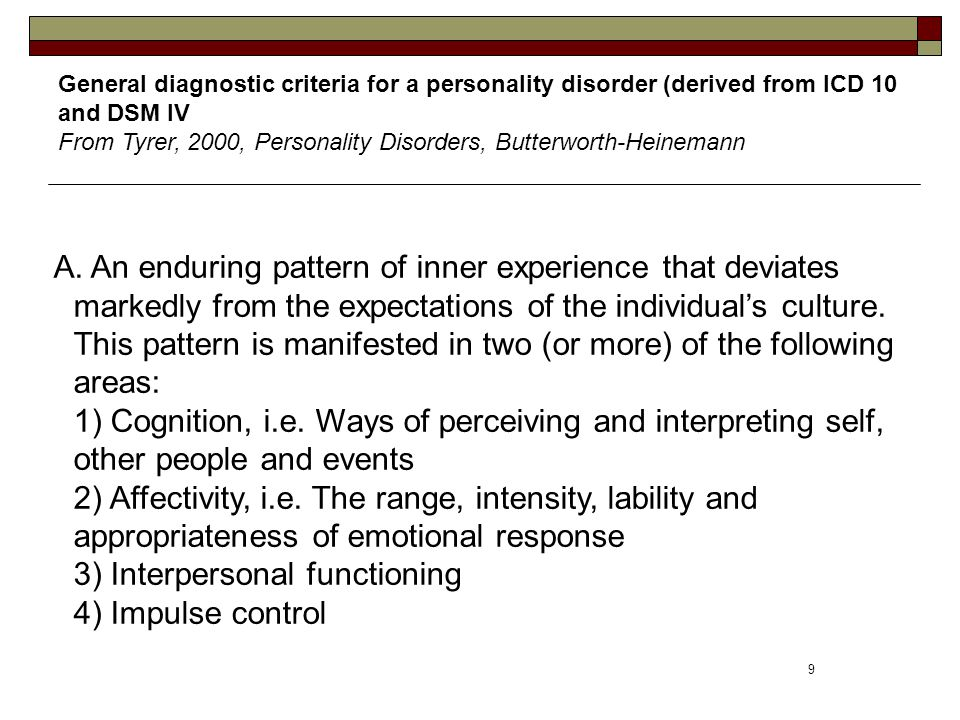 General diagnostic criteria for a personality disorder (derived from ICD 10 and DSM IV From Tyrer, 2000, Personality Disorders, Butterworth-Heinemann