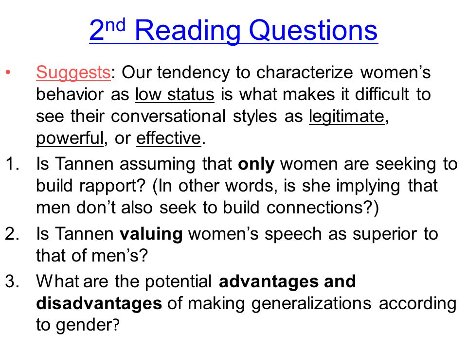 2nd Reading Questions