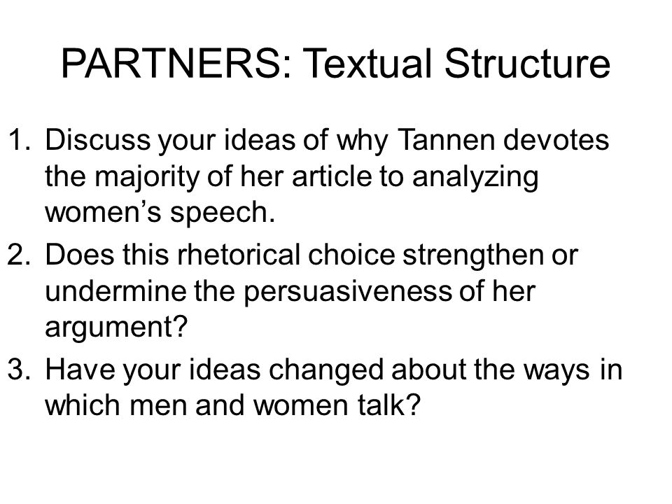 PARTNERS: Textual Structure