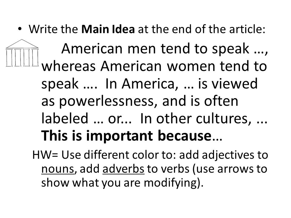 Write the Main Idea at the end of the article: