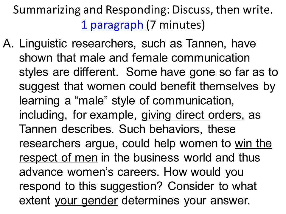 Summarizing and Responding: Discuss, then write