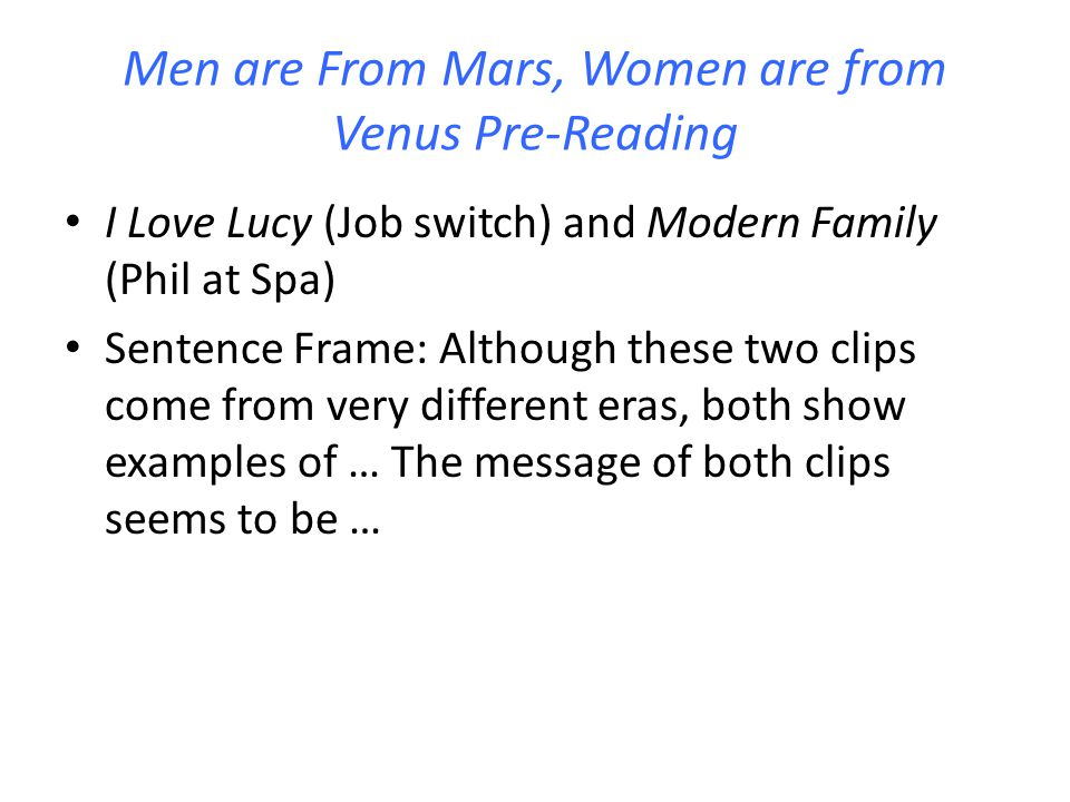 Men are From Mars, Women are from Venus Pre-Reading
