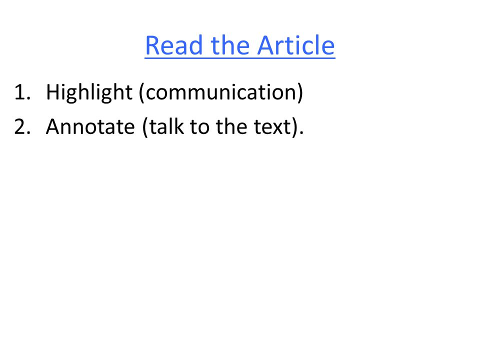 Read the Article Highlight (communication)