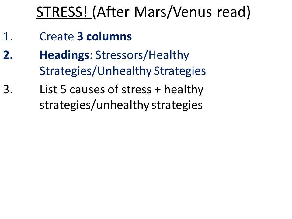 STRESS! (After Mars/Venus read)
