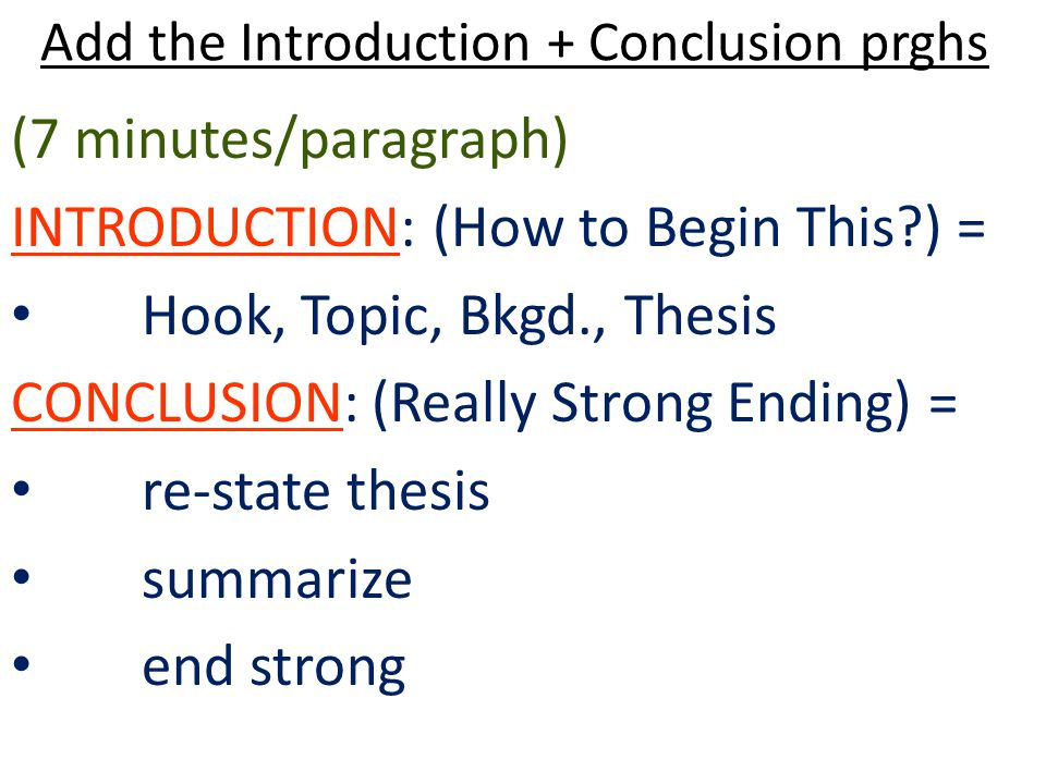 Add the Introduction + Conclusion prghs