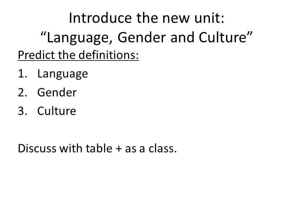 Introduce the new unit: Language, Gender and Culture
