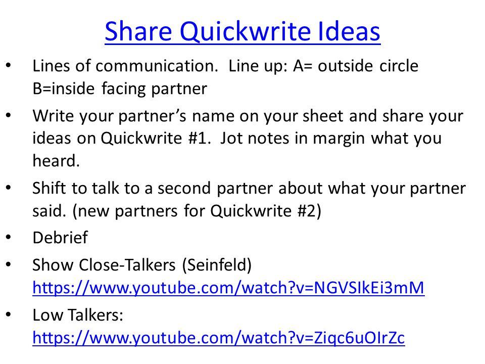 Share Quickwrite Ideas
