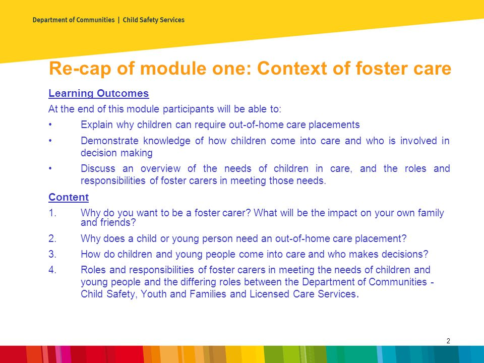 Re-cap of module one: Context of foster care