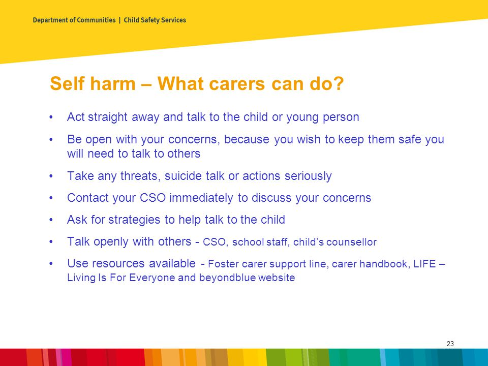 Self harm – What carers can do