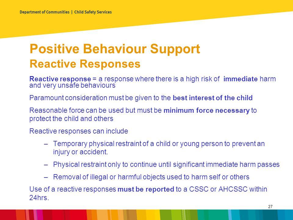 Positive Behaviour Support Reactive Responses