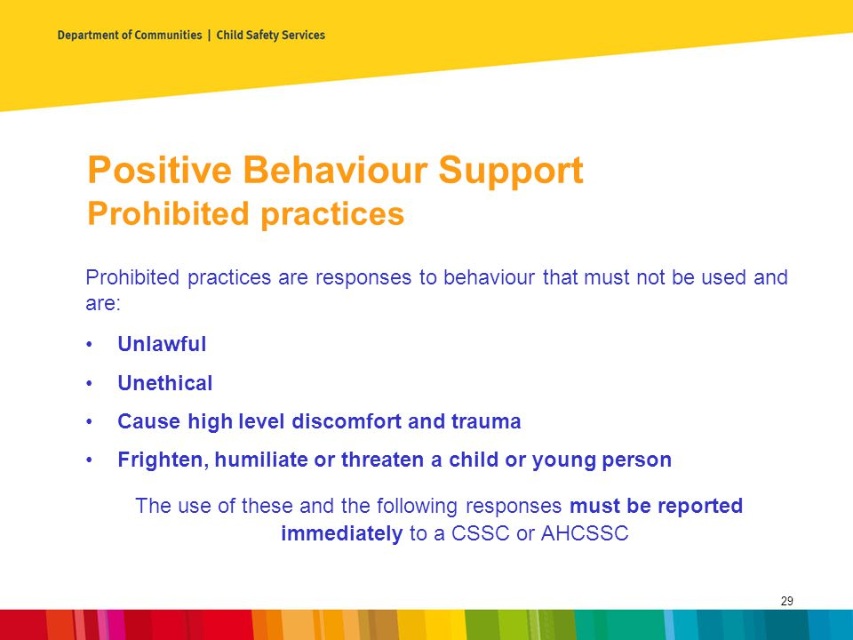 Positive Behaviour Support Prohibited practices
