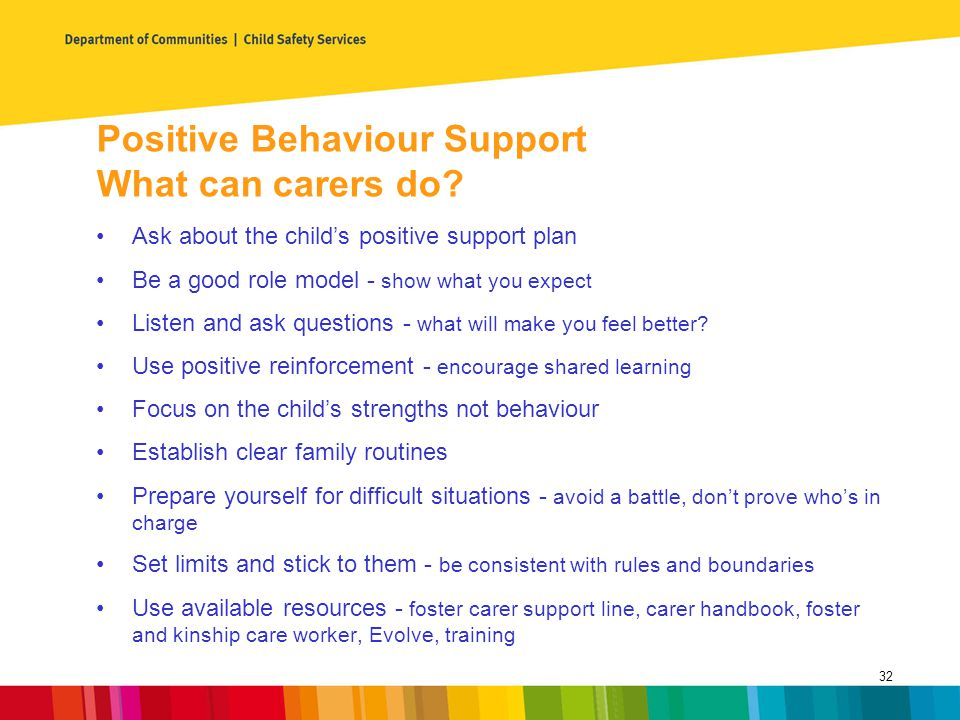 Positive Behaviour Support What can carers do