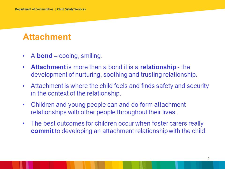 Attachment A bond – cooing, smiling.