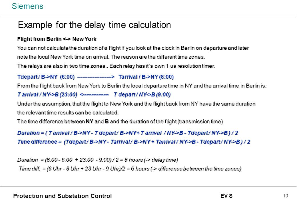 Example for the delay time calculation