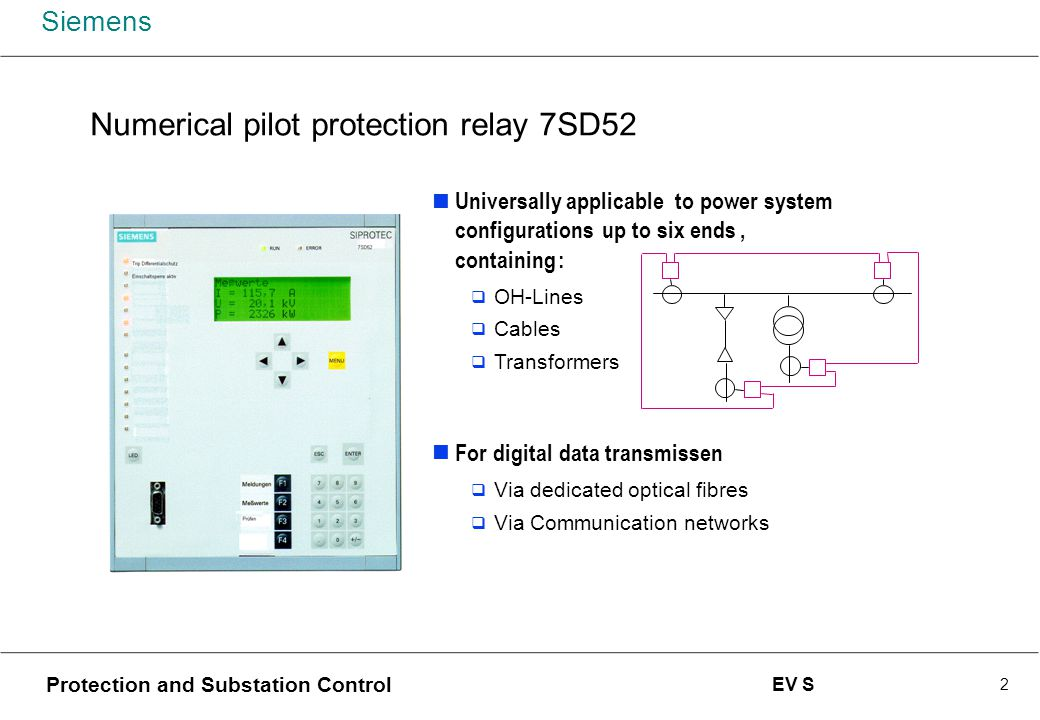 Numerical Pilot Protection 7SD52 using digital wide-band ...