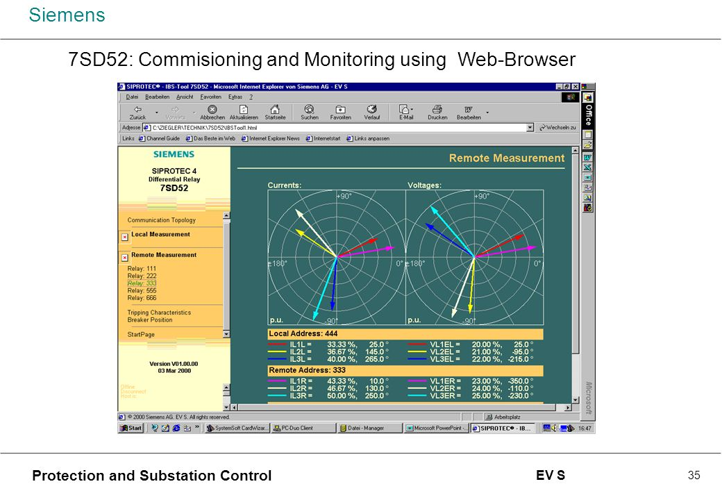 7SD52: Commisioning and Monitoring using Web-Browser
