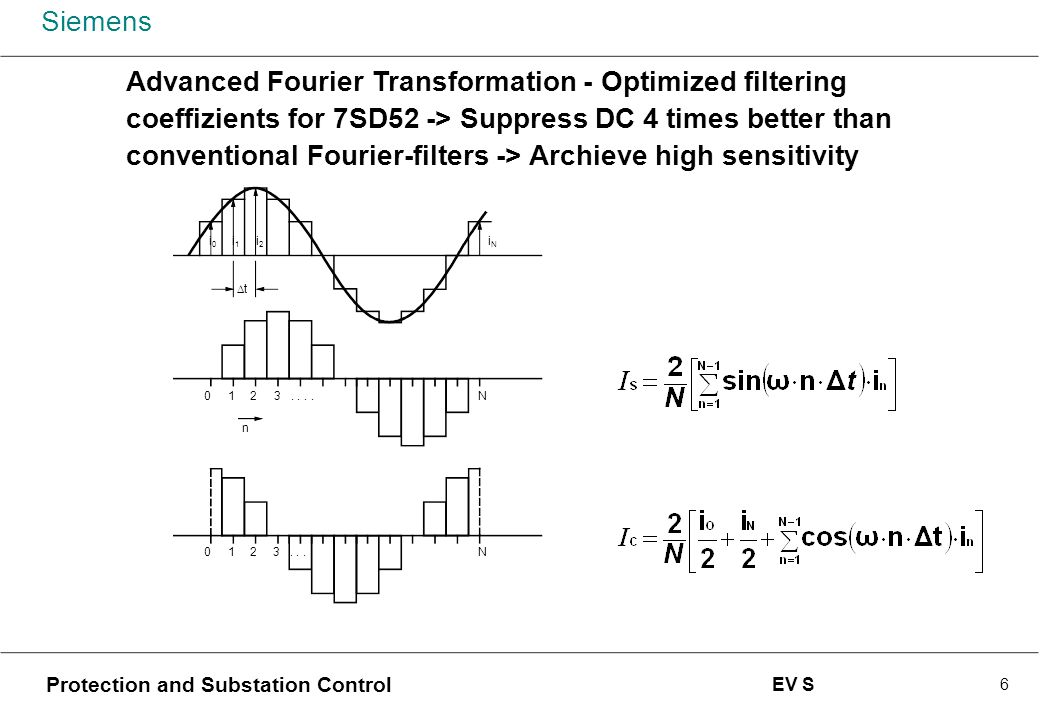 Advanced Fourier Transformation - Optimized filtering coeffizients for 7SD52 -> Suppress DC 4 times better than conventional Fourier-filters -> Archieve high sensitivity