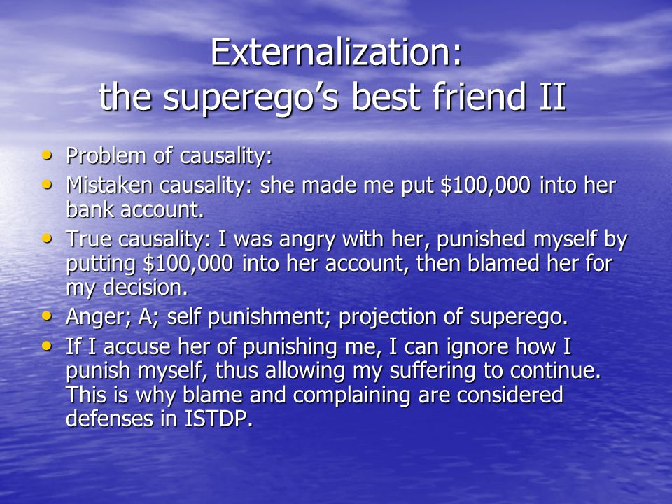 Externalization: the superego's best friend II