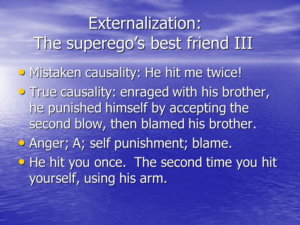 Externalization: The superego's best friend III