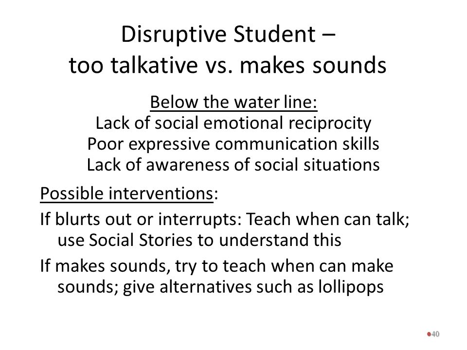 Disruptive Student – too talkative vs. makes sounds