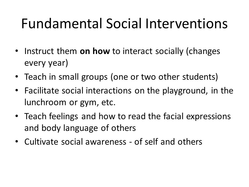 Fundamental Social Interventions